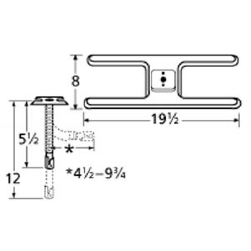 "9910201-72401 Stainless Steel Burner 19.5"" x 8"""