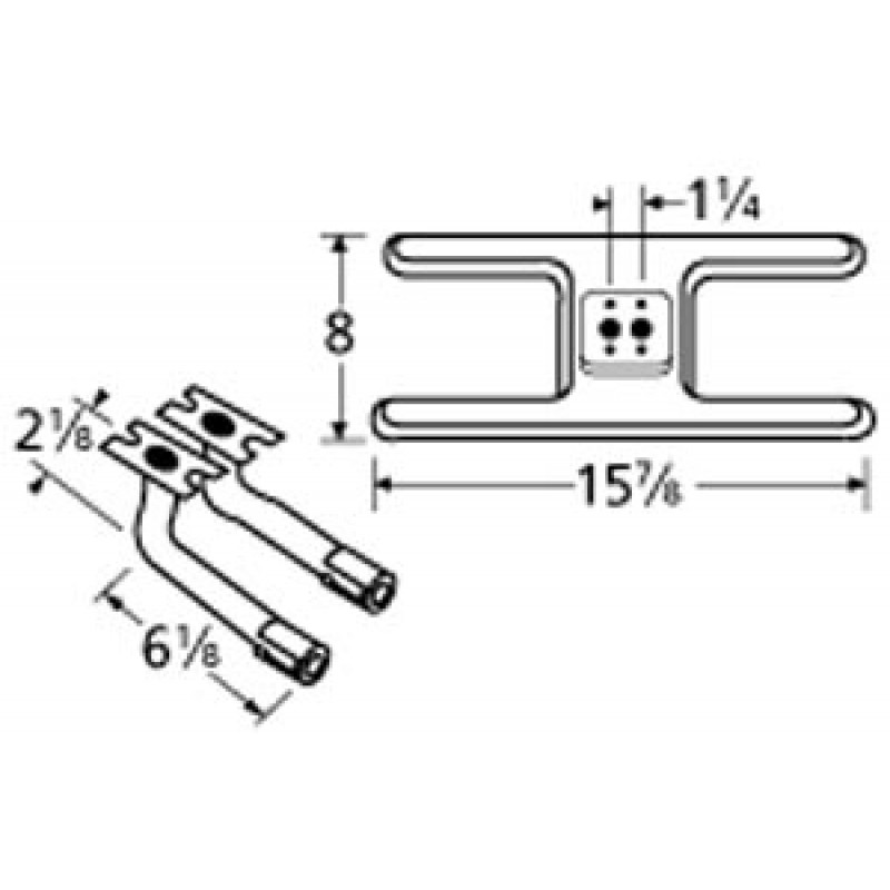 "9910502-709LR Stainless Steel Burner 15.875"" x 8"""