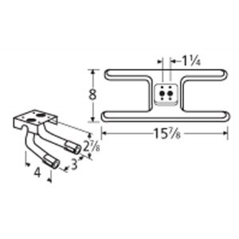 "9910502-725LR Stainless Steel Burner 15.875"" x 8"""