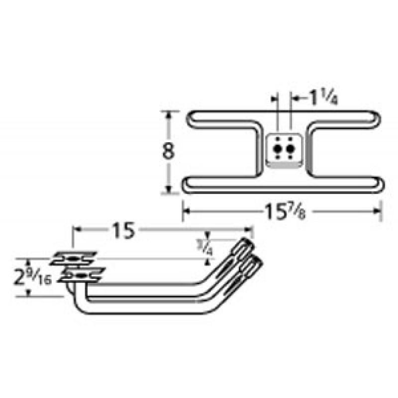 "9910502-72902 Stainless Steel Burner 15.875"" x 8"""