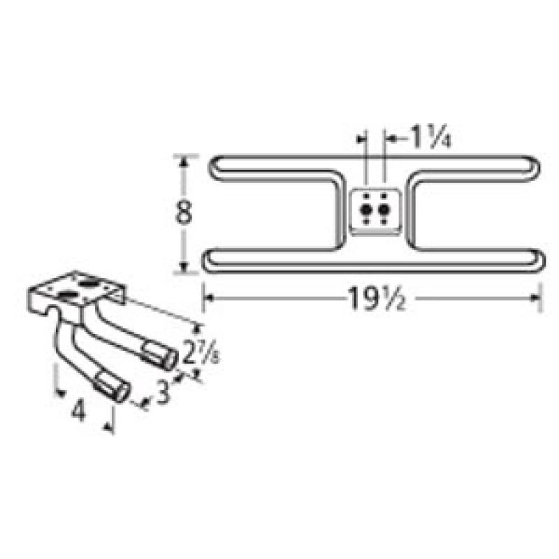 "9910602-725LR Stainless Steel Burner 19.5"" x 8"""
