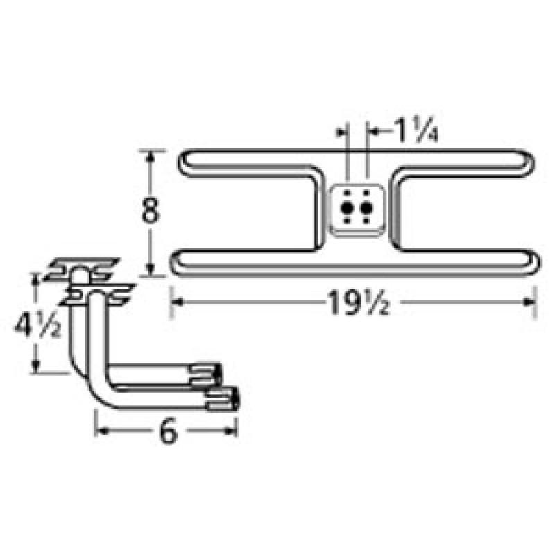 "9910602-75702 Stainless Steel Burner 19.5"" x 8"""