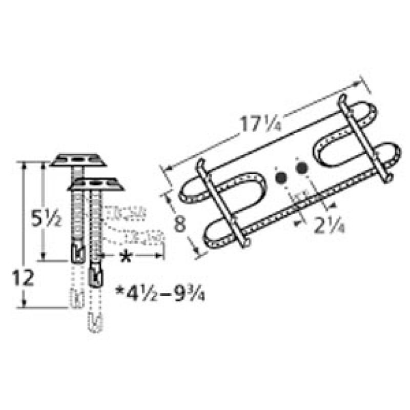 "9910902-72401 Stainless Steel Burner 17.25"" x 8"""