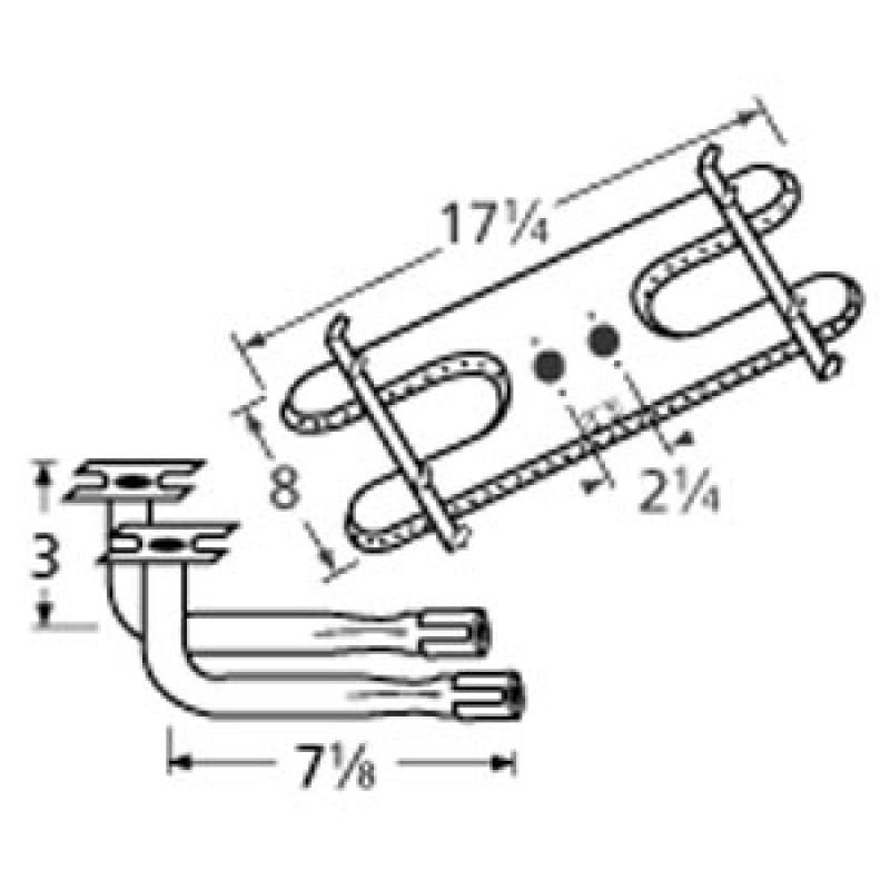 "9910902-73902 Stainless Steel Burner 17.25"" x 8"""