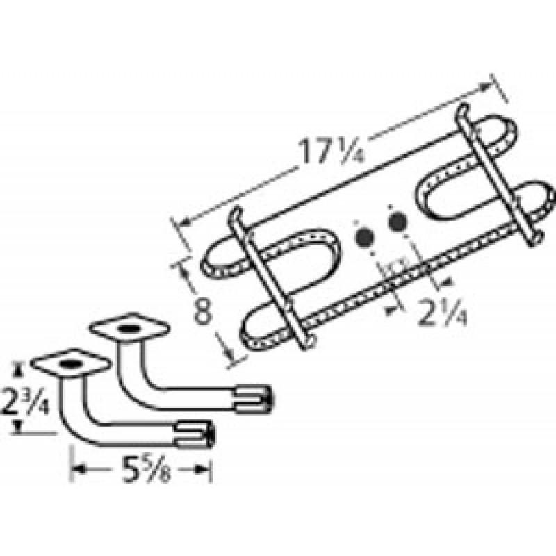 "9910902-74102 Stainless Steel Burner 17.25"" x 8"""