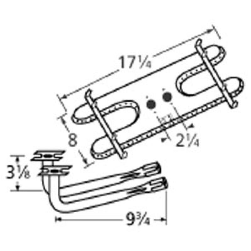 "9910902-74402 Stainless Steel Burner 17.25"" x 8"""