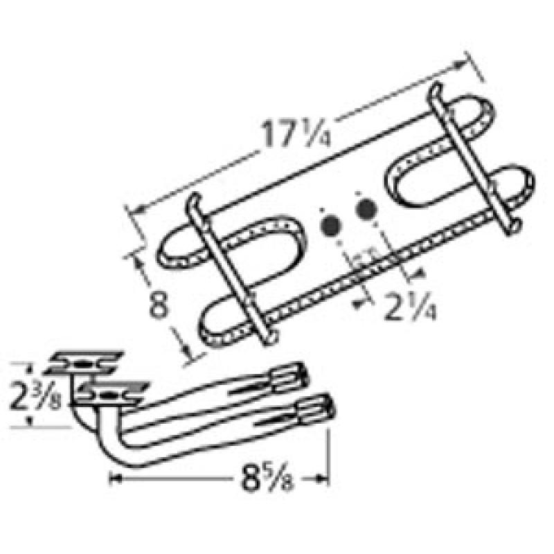 "9910902-75502 Stainless Steel Burner 17.25"" x 8"""