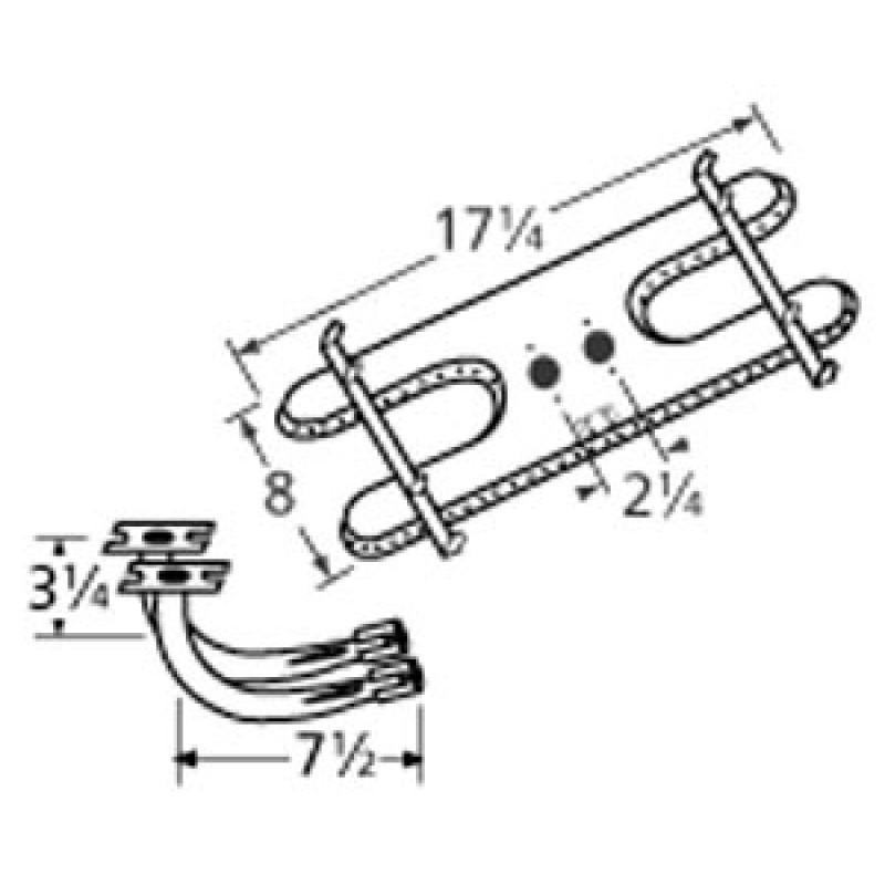 "9910902-77902 Stainless Steel Burner 17.25"" x 8"""