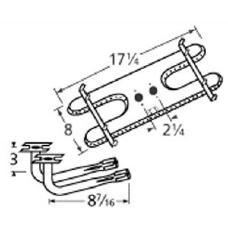 "9910902-78502 Stainless Steel Burner 17.25"" x 8"""