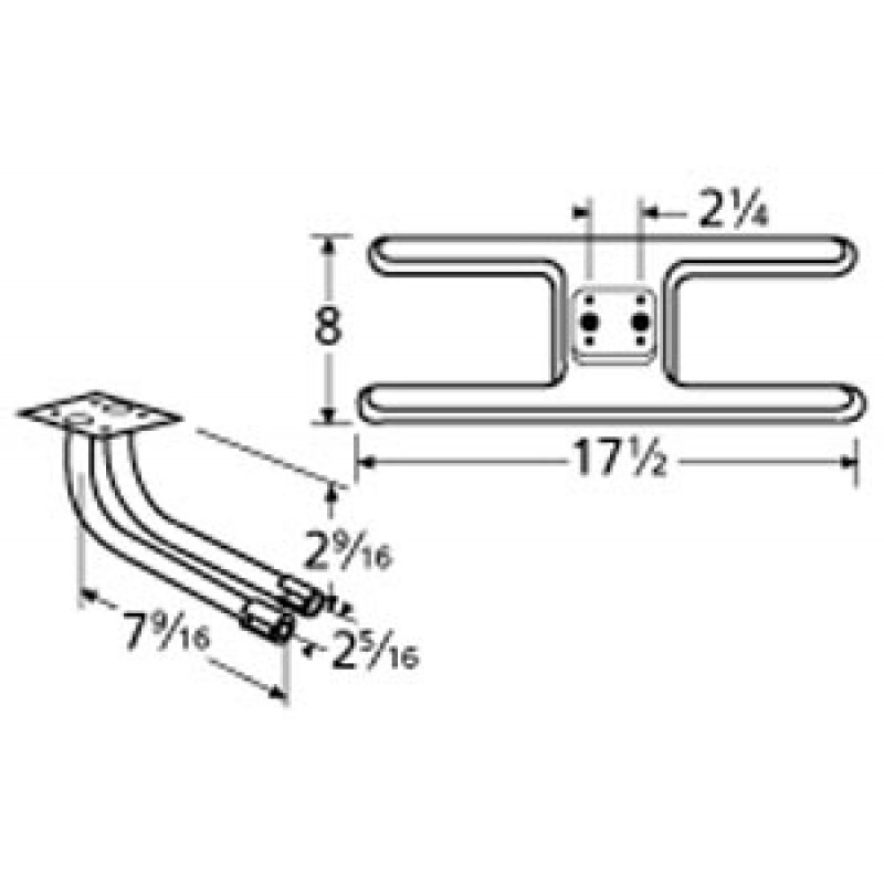 "9910902-78702 Stainless Steel Burner 17.25"" x 8"""