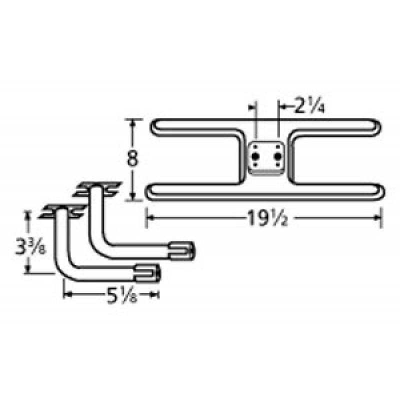 "9911002-73802 Stainless Steel Burner 19.5"" x 8"""