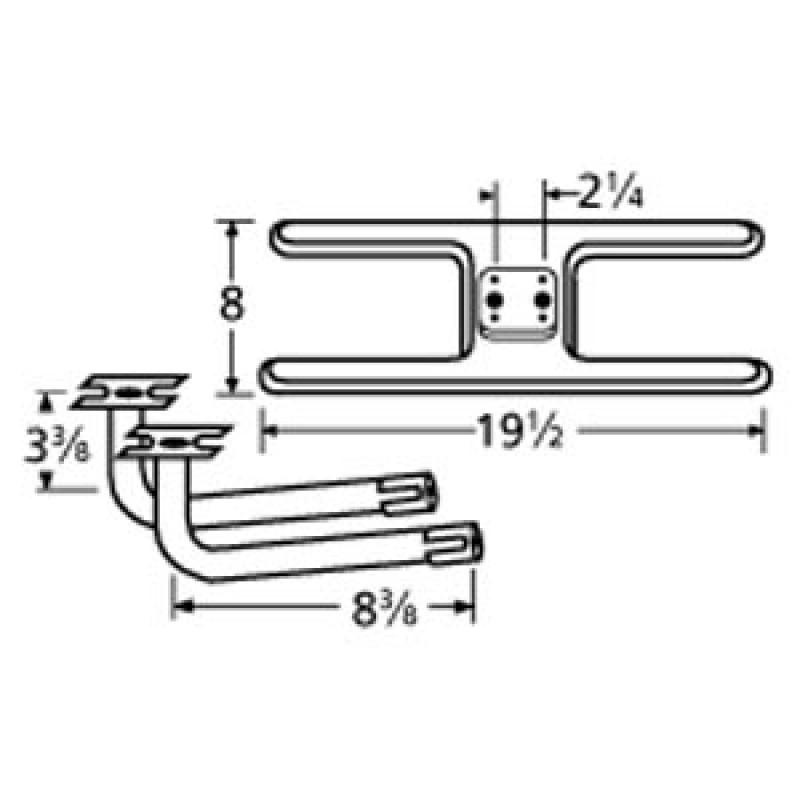 "9911002-74602 Stainless Steel Burner 19.5"" x 8"""
