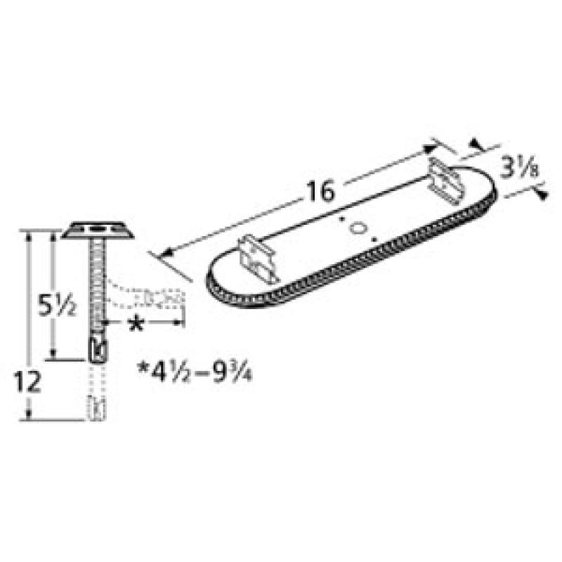 "9911301-72401 Stainless Steel Burner 16"" x 3.125"""