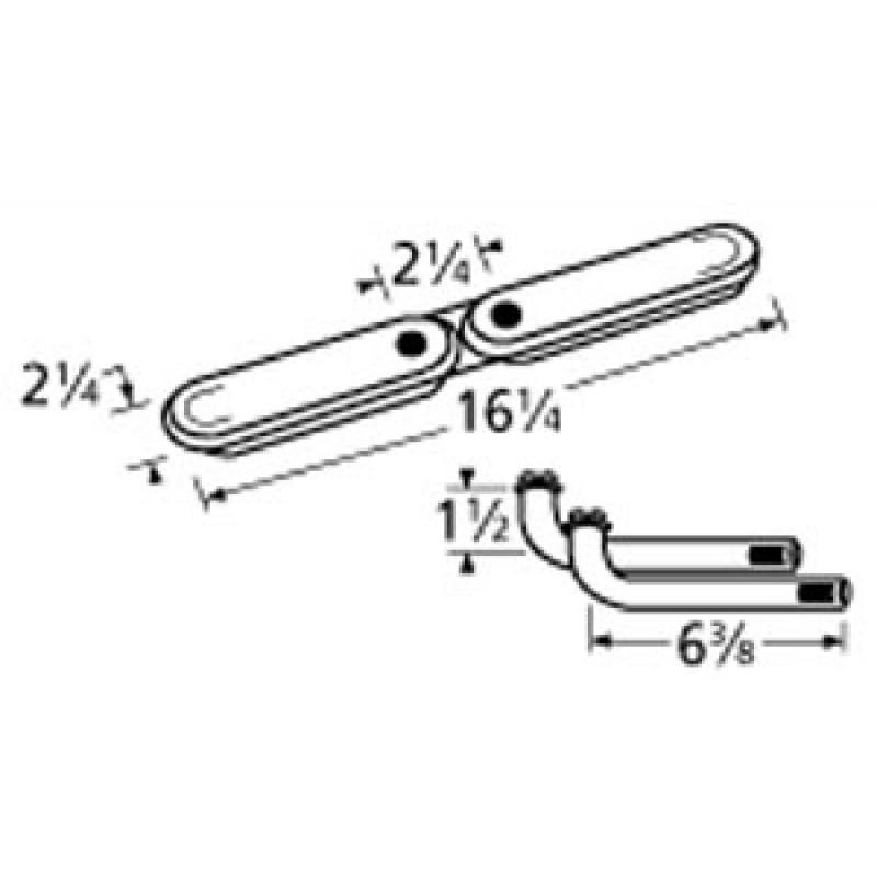 "9911512-76412 Stainless Steel Burner 16.25"" x 2.25"""