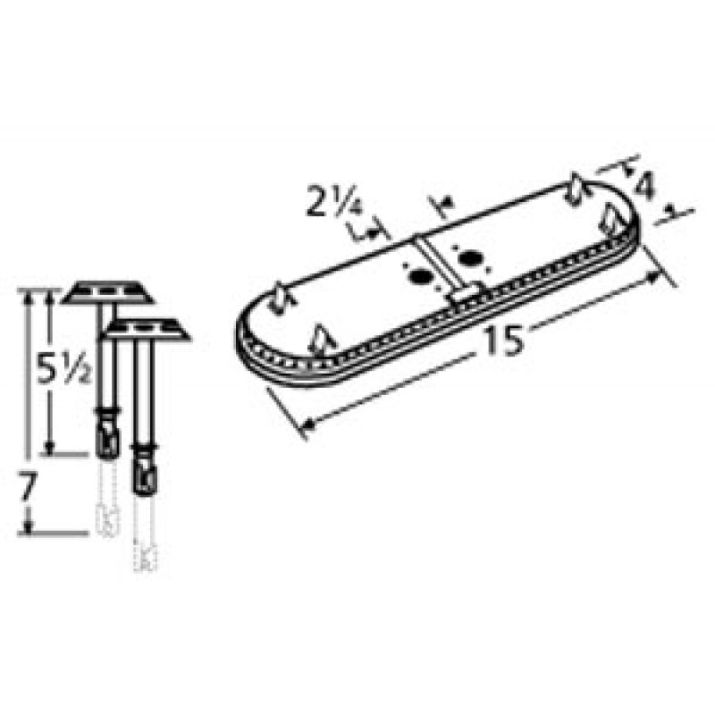"9911602-70301 Stainless Steel Burner 15"" x 4"""