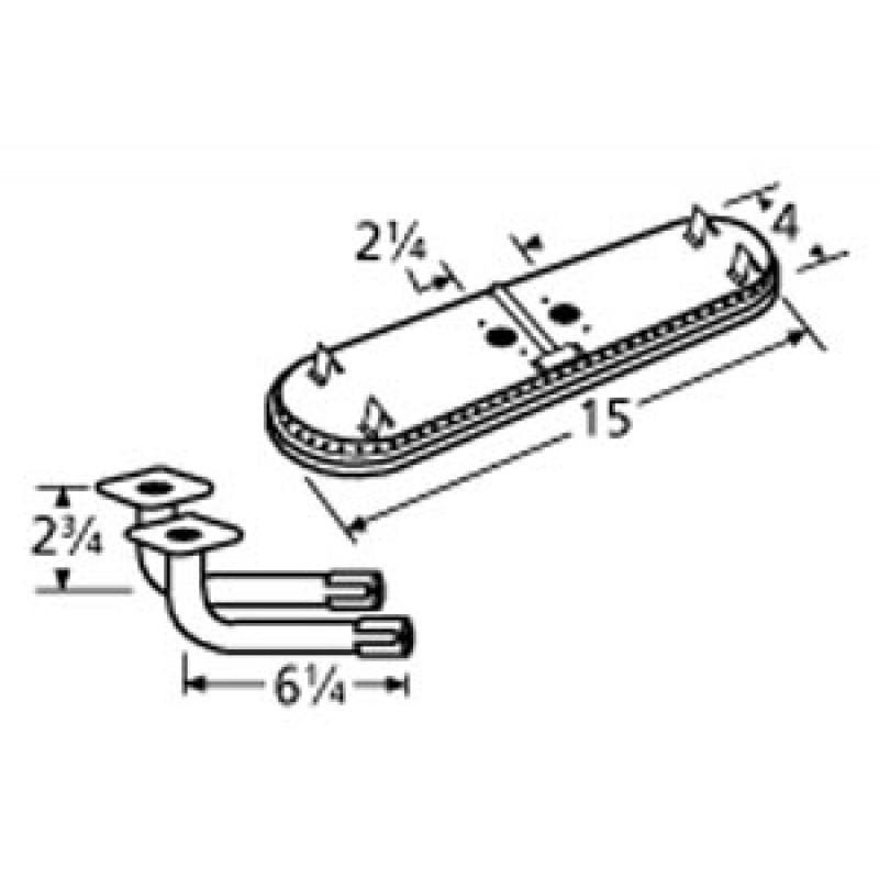 "9911602-74202 Stainless Steel Burner 15"" x 4"""