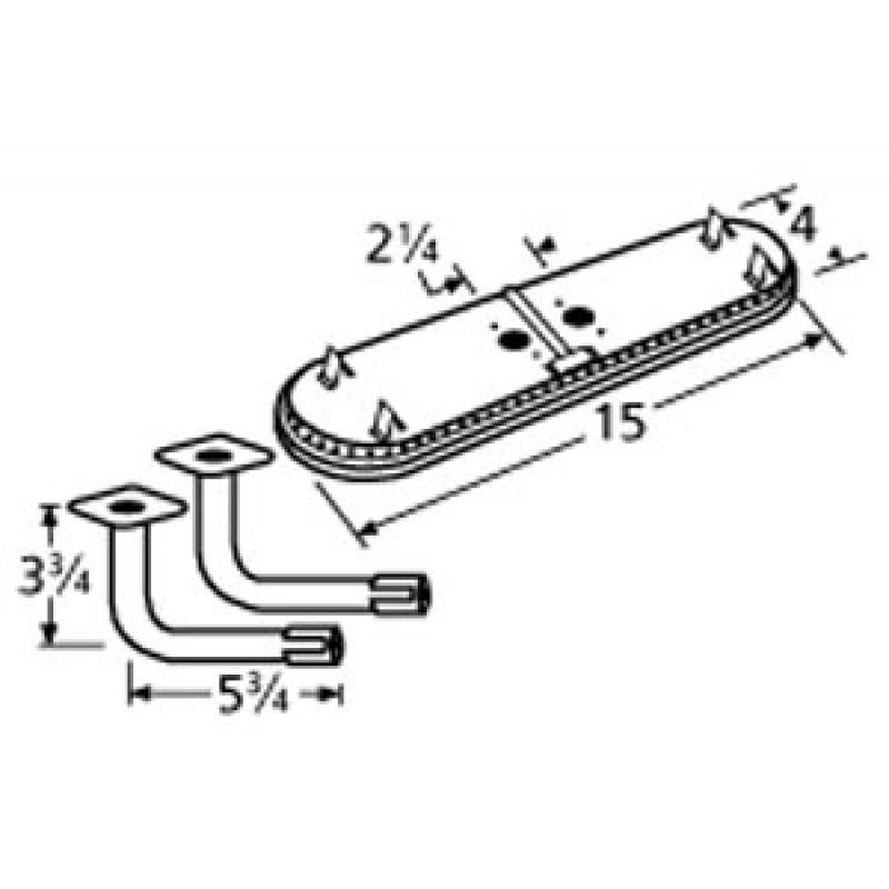 "9911602-74302 Stainless Steel Burner 15"" x 4"""