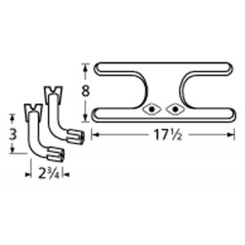 "9911902-76902 Stainless Steel Burner 17.5"" x 8"""