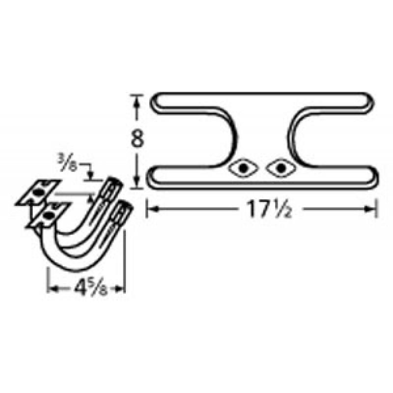 "9911902-77702 Stainless Steel Burner 17.5"" x 8"""