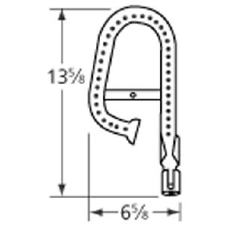 """20177201 Ducane Stainless Steel Burner 13.625"""" x 6.625"""""""