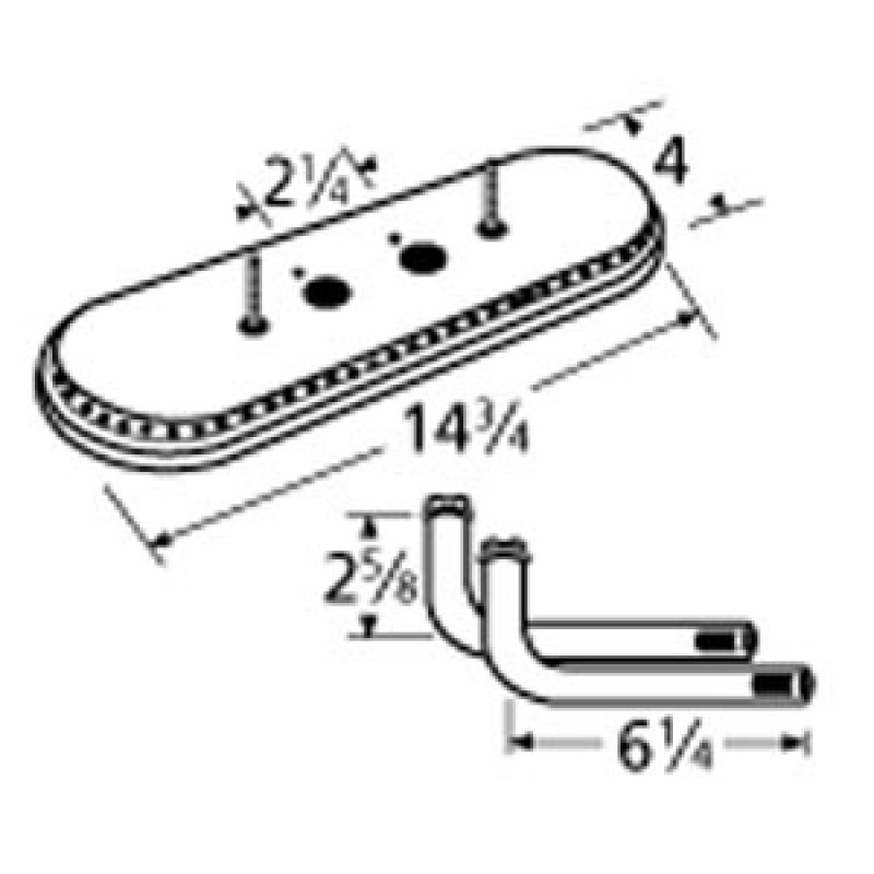 "9915112-77022 Aluminized Steel Burner 14.75"" x 4"""