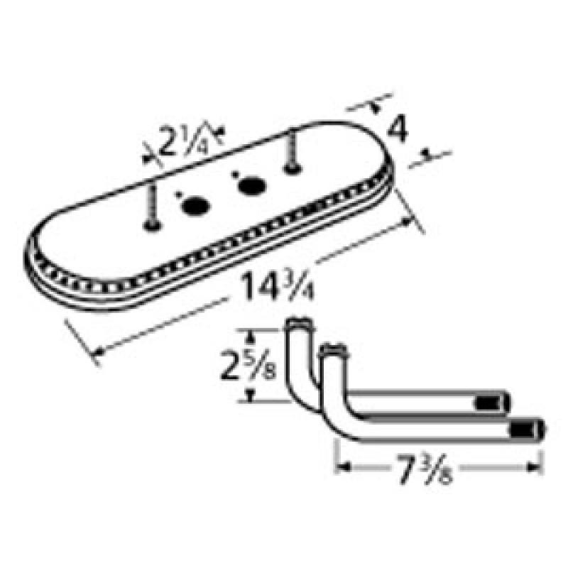 "9915112-77122 Aluminized Steel Burner 14.75"" x 4"""