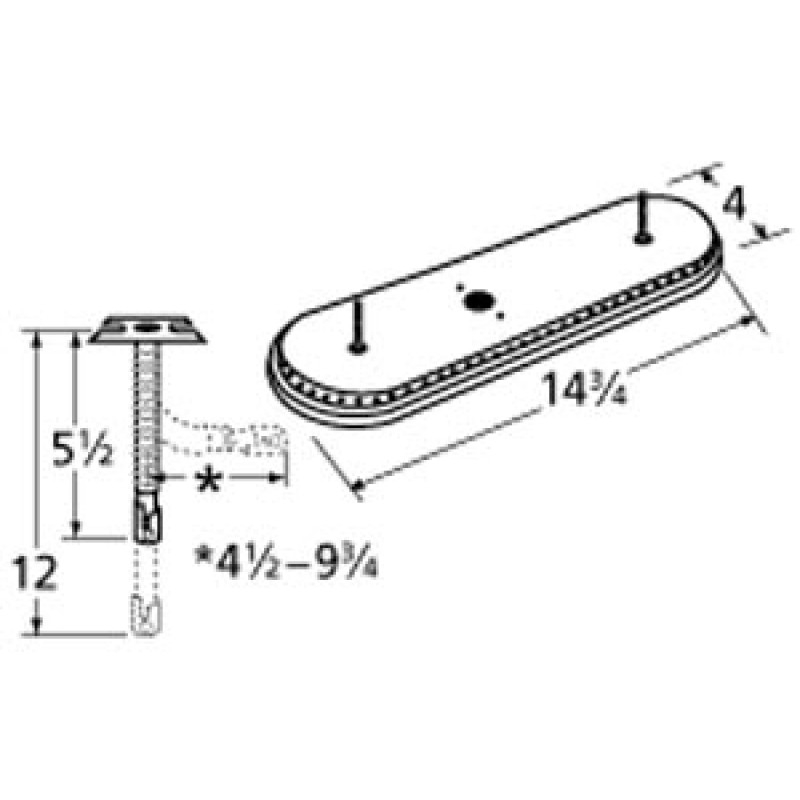 "9915301-72401 Stainless Steel Burner 14.75"" x 4"""