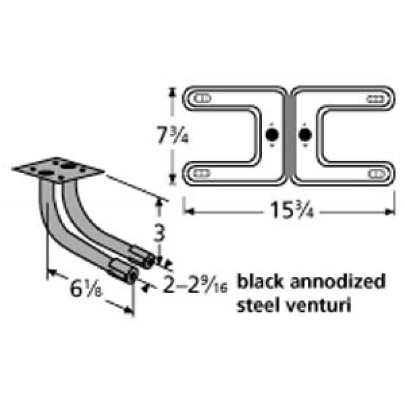 "9918102-78202 Stainless Steel Burner 15.75"" x 7.75"""