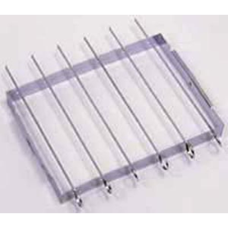 9941338 Shish-Ke-Bab Set. 6 Chrome Plated 14in Skewers With Convenient Folding Rack.