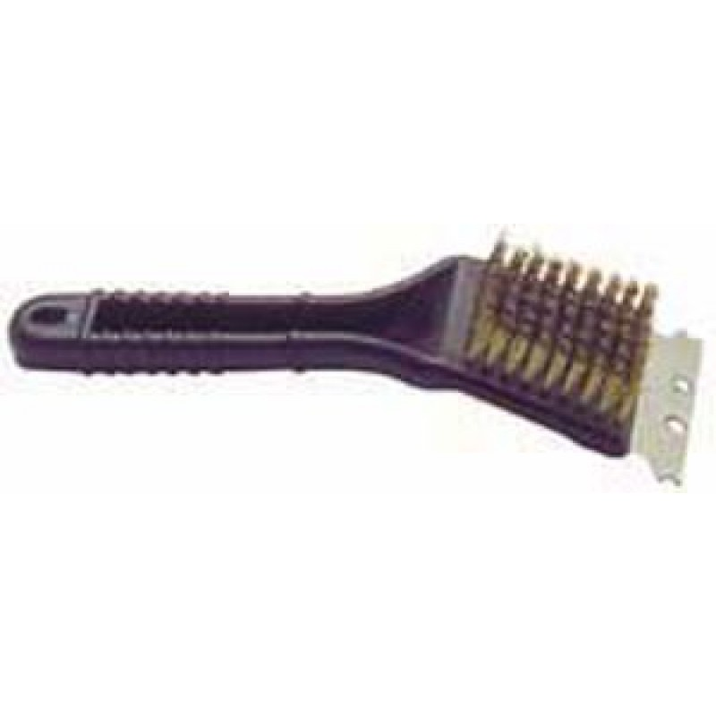 9977330 8in Plastic Grill Brush With Brass Bristles And Scraper
